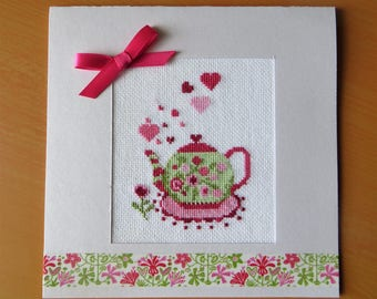 Hand embroidered card: teapot with hearts