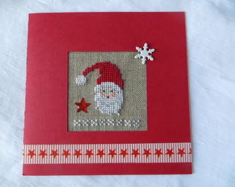 Hand embroidered card: head of Santa Claus at the stars