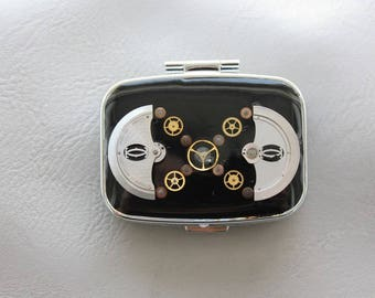 Steampunk watch parts and resin rectangle pill box or small box