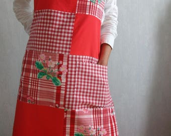 Red patchwork aprons, gingham, plain and flowers