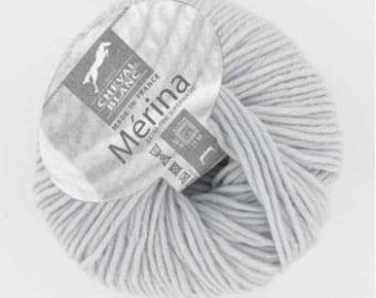 yarn 100% wool MERINA # 071 horse White Pearl
