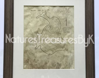 Hardwood Lake Topographic Map~LeFeber Northwoods Camps~aged by hand~ self standing or hanging