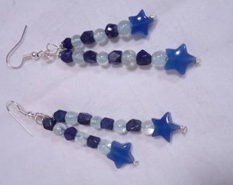 Pendant blue shooting star earrings