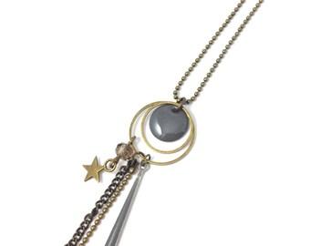 Bronze necklace - enameled Sequin drop grey
