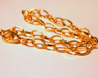 Customize 205 mm - lobster clasp 10 bracelets - link 12 x 7 mm gold-D69