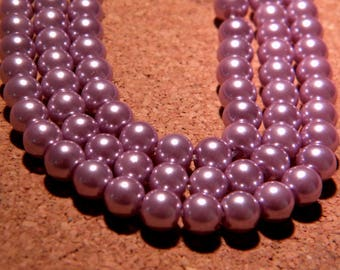30 pearls Pearly iridescent glass 6 mm - lilac metallic PF128 6