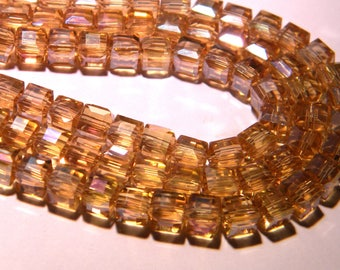 10 pearls 6 mm faceted electroplated - cube-beige honey PG128 1 iridescent glass