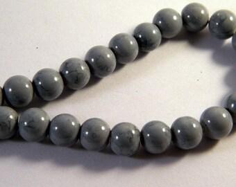 20 8 mm gray speckled PV31 light black glass beads