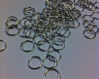 set of 50 rings 10 mm silver