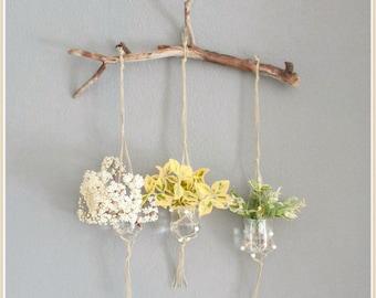 Hanging vases Style Chic Bohemian macrame linen thread