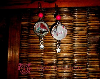 """Earrings """"bird rose"""" cabochon style romantic blue and pink"""