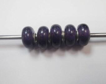 5 glass eyeball beads purple