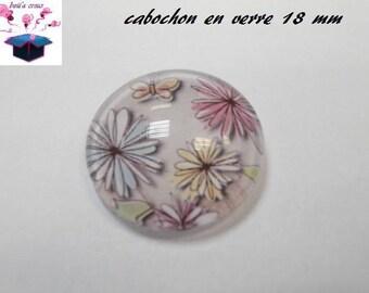 1 cabochon clear 18 mm bird theme