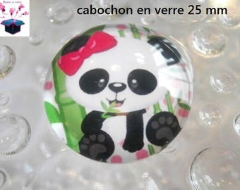 1 cabochon clear 25 mm panda theme