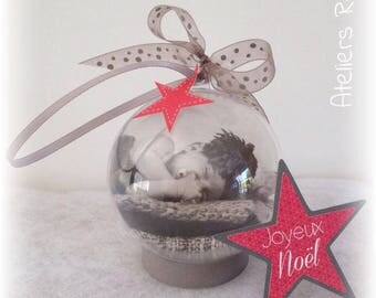 """Ball 7cm """"my first Christmas"""" with customizable text and photo"""