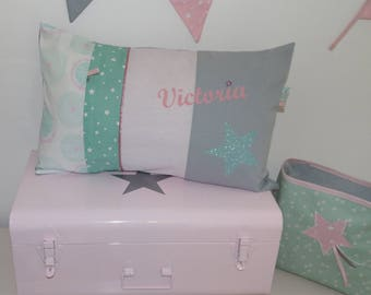 Pillows with personalized name pink powder / water Green 30 x 50 to order