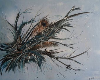 Beads and feather. Modern abstract painting