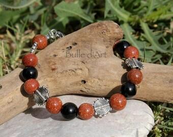 Sun stone and Obsidian celestial bracelet