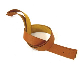 Handles riveting camel brown leather grained 60cm