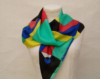 "Scarf with multicolored silk scarf. ""Inspiration Delauney"" hand painted"