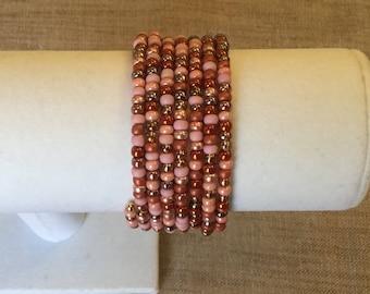 Pink vintage Czech beads, memory wire Cuff Bracelet.