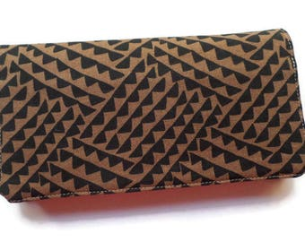 "Checkbook Cover 6.5""x3.5"", Coupons Wallet, Cash Holder in Black and Brown Fabric, For Him or Her"