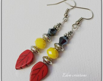 Colorful glass beads, yellow, red and black earrings, pendants