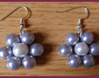 White Pearl and purple flower earrings