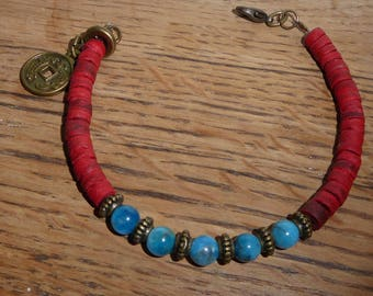 Bracelet gemstones and Chinese Red and blue coconut wood