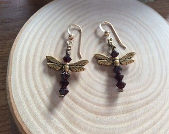 Garnet red Swarovski crystal dragonfly earrings, Tierracast wings charm, Gold vermeil wires, January birthstone or Inspirational gift