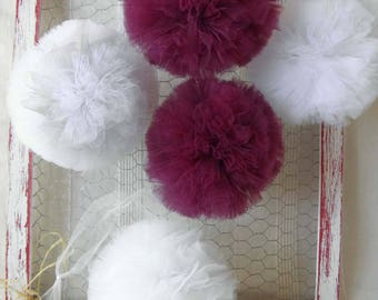 Tulle hanging tassels plum, white and glitter for the home decor