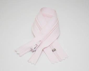 Zip closure, 18 cm, light pink, not separable