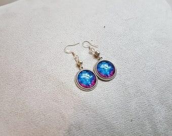Silver Galaxy round earring