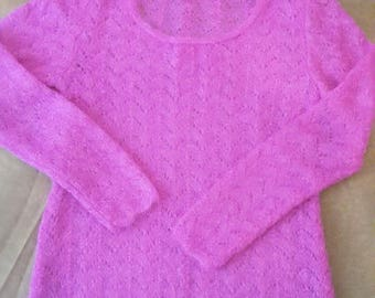 TUNIQUE FUSCHIA KNITWEAR kid mohair lace