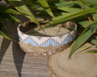 Woven Cuff Bracelet blue beads