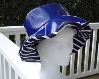 Blue vinyl rain hat lined with cotton Navy wife designer linen ' EVA