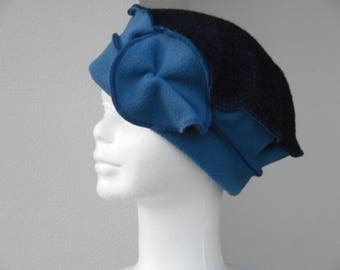 Hat Navy Blue fleece women turban hat and wool Heather blue linen ' eva