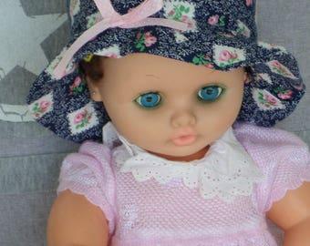chapeau de soleil bébé créateur lin'eva coton été bleu et rose