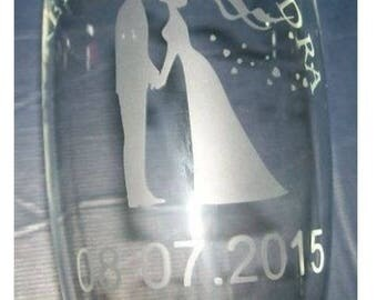champagne glass engraved with your initials