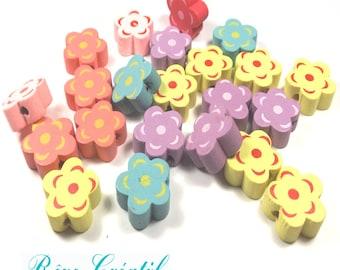 10pcs Perles en Bois motif Fleur 15mm Multicolores Pastel