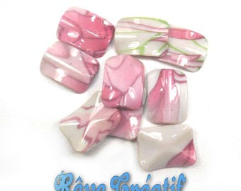 5pcs Perles Rectangulaires 30mm x 22mm en Acrylique Imprimé Rose Blanc et Vert