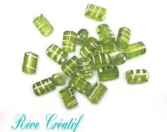 25pcs Perles Cylindriques 19mm x12mm en Acrylique  de style Drawbench Transparent Vert