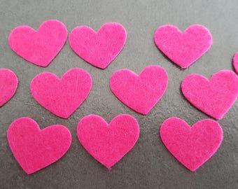 50 self-adhesive felt 16 mm hearts