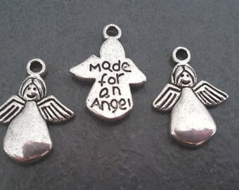 10 charms / pendants silver metal Angels