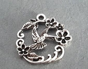 Bird charm fly bird charm, silver bird jewelry