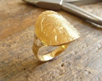 Ring piece gold arched $ 5