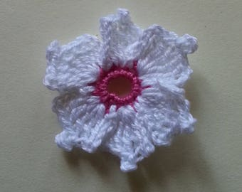 Cronus kousa white dark pink flower crochet applique for sale individually