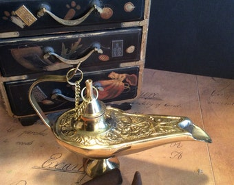 Aladdin lamp burner, resin, incense burner, brass lamp incense burner, Gennie's brass lamp, magical lamp