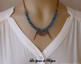 Copper metal and turquoise glass round beads necklace