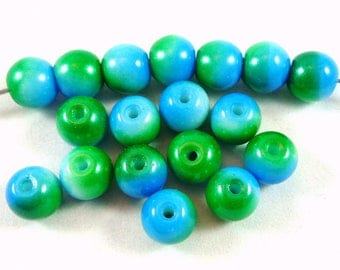 5 two-tone glass beads: blue/green, 9.5 mm (ptch45)